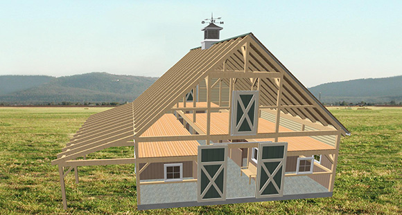 The yarmouth home building kits for Post and beam barn plans free